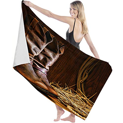 Big buy store Soft Lightweight Bath Sheets Towel Leather Boot Oil Lamp Absorbent Quick Dry Microfiber Shower Towel for Bathroom Travel Swim Spa for Kids Adults 27x55 inch Western Cowboy
