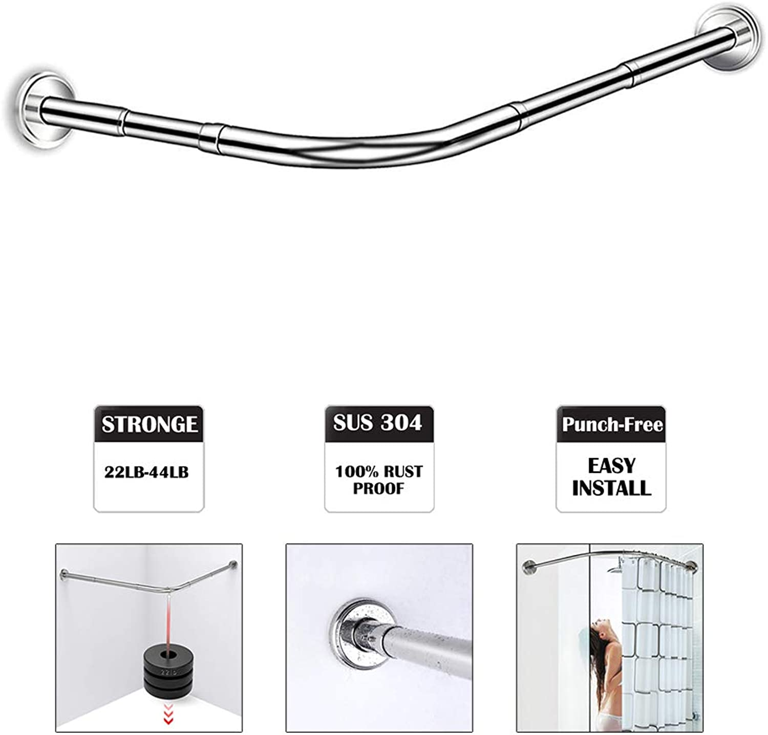 Punch-Free Stretchable Shower Curtain Rod,304 Stainless L Shaped 27.55-39.37  x35.43-47.24 ,for Bathroom, Clothing Store
