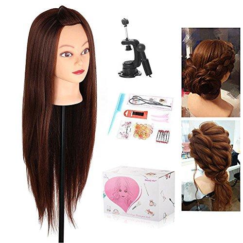 "Cabeza Peluqueria, Beauty Star 29.52"" Cabeza Maniqui Peluqueria Pelo Sintético incluye abrazadera soporte y accesorios ideal para Practicar Peinados"