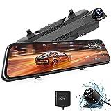 """WOLFBOX Mirror Dashcam 2.5K IPS de 10 """", cámara Frontal y cámara de visión Trasera, cámara de Doble Tablero, grabación en Bucle y Sensor G, monitoreo de estacionamiento, GPS, visión Nocturna"""