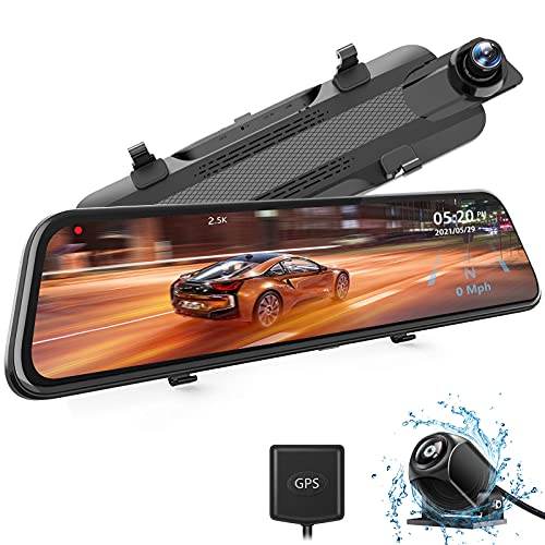 """WOLFBOX 2.5K Mirror Dash Cam with GPS, 10"""" Full Touch Screen Rear View Mirror Camera with Waterproof Backup Camera, Dual Dash Camera Front and Rear for Car, Rearview Car Camera with Night Vision"""