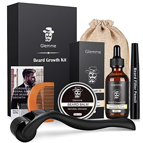 Beard Growth Kit, Derma Roller with Beard Growth Oil Serum for Men Patchy Facial Hair Growth Titanium Microneedle + Balm Wax + Comb, Best Gift for Men