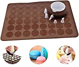 Perfetsell Macaron Pad Silicone Baking Mat Mold Set 48 Holes Capacity Non Stick Baking Tray Cake Bakeware Kit Brown Baking Sheet Moulds with Decorating Pen and 4 Nozzles for Macaron, Cupcake, Dessert