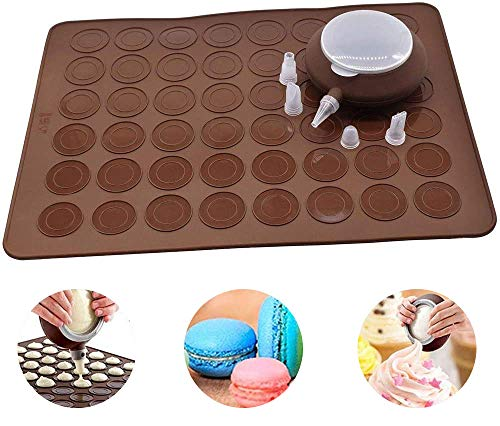 Perfetsell Moldes Silicona Macarons- 2 Pieces, 48 Capacidad Tapete Macaron de Silicona para Hornear Macarons + Manga Pastelera Silicona con 4 Boquillas, Molde para Macarons(Café)