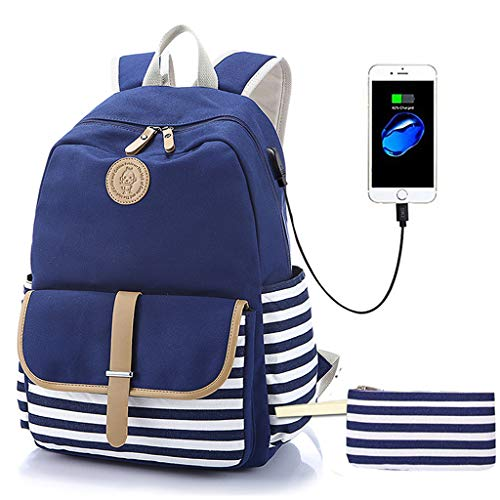 """Lmeison Charging Backpack for College Women, Stripe Bookbag with Pencil Case for School, Canvas Travel Daypack Girls Laptop Bag Fits 15.6"""" Laptop, Waterproof and Lightweight, Blue"""