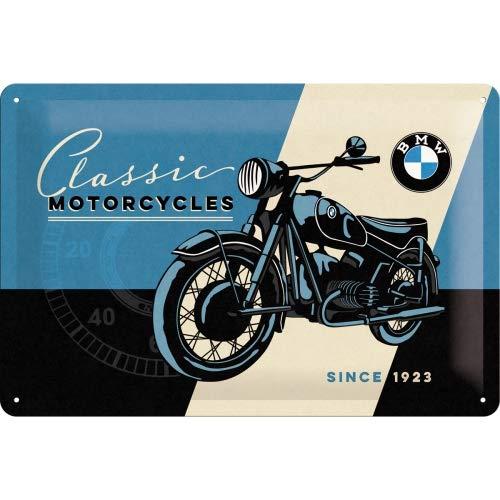 Nostalgic-Art BMW Classic Placa Decorativa, Metal, Azul y Beige, 20 x 30 cm