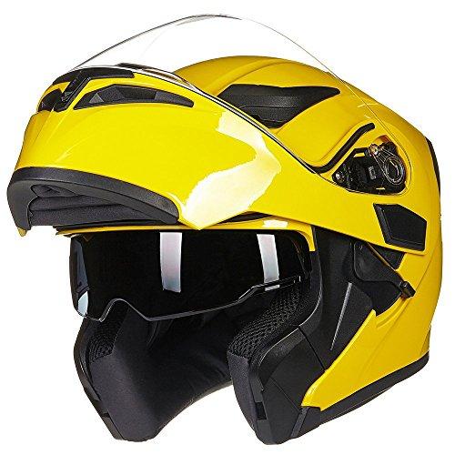 ILM Motorcycle Dual Visor Flip up Modular Full Face Helmet DOT 6 Colors (L, Yellow)