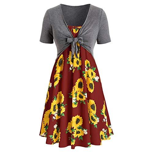 TDEOK Damen Kurzarm Schleife Schleife Gürtel Bluse Top Sonnenblumen Print Anzugkleid