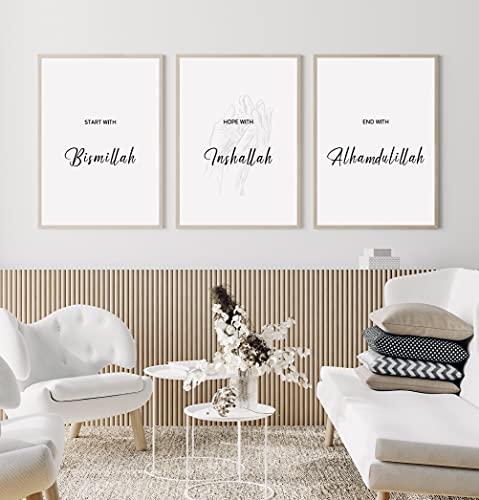 Islamische Bilder DIN A3 Premium Qualität im 3er Set eindrucksvolle Wand Dekoration Geschenk Eid Mubarak Islamic Posterset ästhetisch Calligraphy