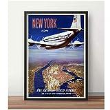 SDGW Póster De Viaje De Aviación Pan-Am A Nueva York, Pinturas Clásicas En Lienzo, Carteles De Pared Vintage, Decoración del Hogar, Regalo, 60X80Cm Sin Marco