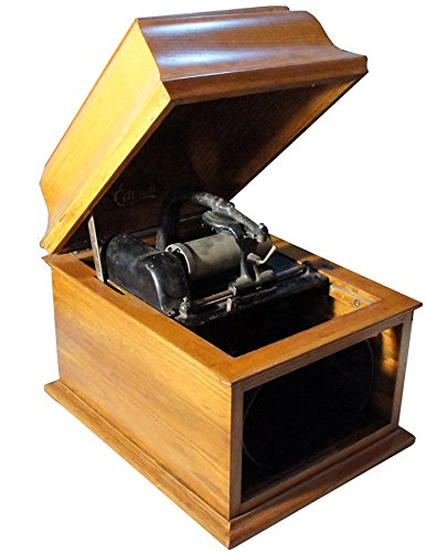 Antique Thomas A Edison Cylinder Phonograph Record Player with Crank