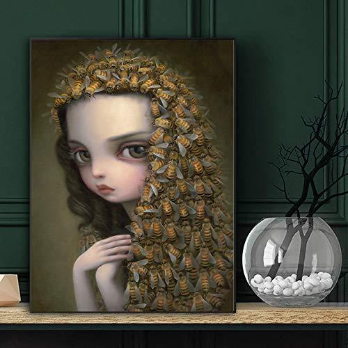 fdgdfgd Mädchen mit Schal und Ihren Haaren Seltsame dunkle Weltkönigin Bienenkunst auf Leinwand Poster Wandbild drucken Hauptschlafzimmer Dekoration