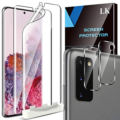 LK 4 Stück Schutzfolie Kompatibel mit Samsung Galaxy S20, 2 Folie und 2 Kamera Panzerglas, Blasenfreie Weich TPU Displayschutzfolie Vollständige Abdeckung Fingerabdruck-ID unterstützen