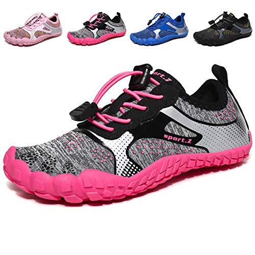 MARITONY Kinderschuhe Jungen Mädchen Kinder Schuhe Wanderschuhe Sportschuhe Trekkingschuhe Laufschuhe Turnschuhe Sneaker 1 Grau Rosa 35 EU