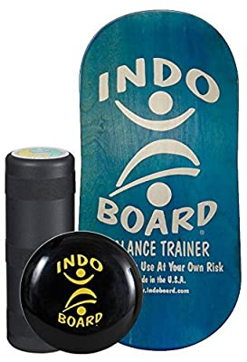 """INDO BOARD Rocker Balance Board Package - Aqua Blue - Improve Balance, Comes with 33"""" X 16"""" Non-Slip Deck 6.5"""" Roller and 14"""" Cushion"""