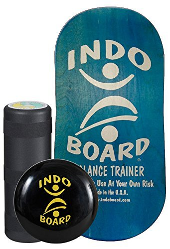 INDO BOARD Rocker Balance Board Package - Aqua Blue - Improve Balance, Comes with 33' X 16' Non-Slip Deck 6.5' Roller and 14' Cushion