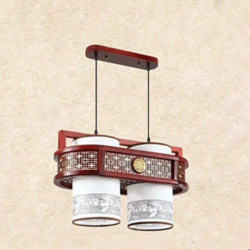 Lustre Salle à manger Chandeliers Restaurant Trois Carré Carré En Bois Massif Imitation Lampes En Cuir Style Chinois LED (Size : 28 * 35 * 55cm)