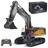 Remote Control Excavator Toy 1/14 Scale RC Excavator, 22 Channel Upgrade Full Functional Construction Vehicles Rechargeable RC Truck with Metal Shovel and Lights Sounds (1592-black)