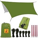 Bâche Tente Anti Pluie - Rain Fly Imperméable 3 x 3.5 m Abri de Randonnée Tapis,étanche coupe-vent anti-neige Camping Abri,...