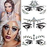 3 sets Mermaid Face Gems Glitter, Rhinestone Rave Festival Face Jewels, Cristales Face Stickers para Eyes Face Body Tatuajes temporales con brillo