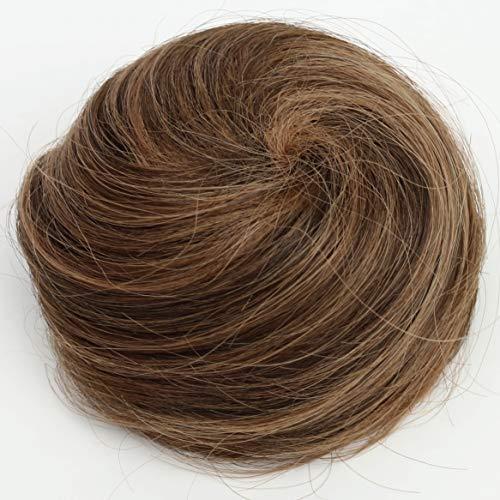 PRETTYSHOP 100% ECHTHAAR DUTT Hochsteckfrisuren Haarteil Haarknoten Hepburn Dutt Haargummi Braun Mix H311n