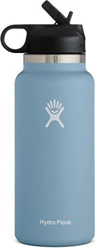 Hydro Flask Water Bottle with Straw Lid - Stainless Steel, Reusable, Vacuum Insulated- Wide Mouth