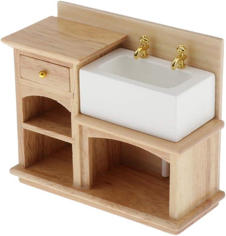 LoveinDIY 1:12 Scale Dollhouse Miniature Furniture Bathroom Kitchen Wooden Hand Sink