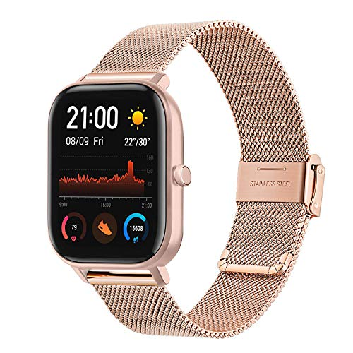 TRUMiRR Kompatibel mit Amazfit GTS Armband, Mesh Gewebt Edelstahl Uhrenarmband Quick Release Armband Business Ersatzband für Amazfit GTS/Amazfit Bip/Amazfit Bip Lite/Amazfit Smartwatch GTR 42mm