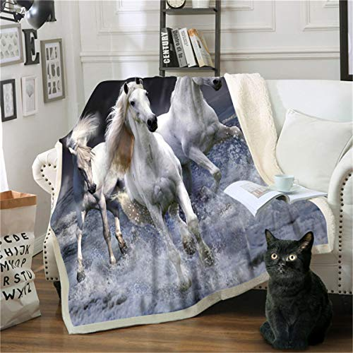 Oduo Kuscheldecke Mikrofaser Sherpa Fleecedecke Super Weich Dicke Wohnzimmerdecke Tagesdecke Sofadecke Decke für Couch & Bett TV-Decke Reise Camping (weißes Pferd,150x200cm)