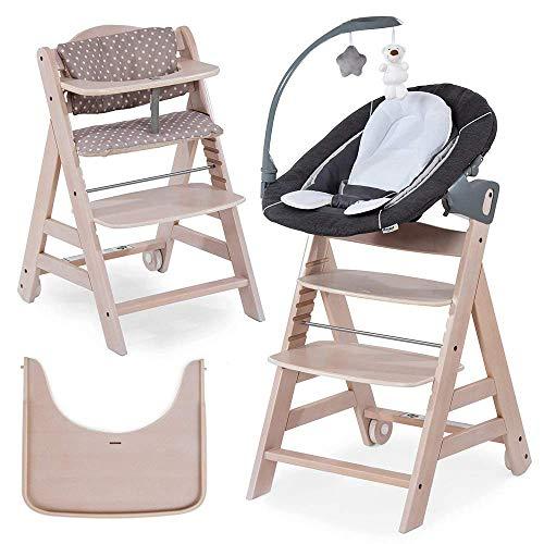 Hauck Beta Plus Newborn Set Deluxe - Trona evolutiva con Hamaca reclinable y móvil, cojín y bandeja - Trona bebe convertible- Silla Trona Madera haya - White Washed/Dots