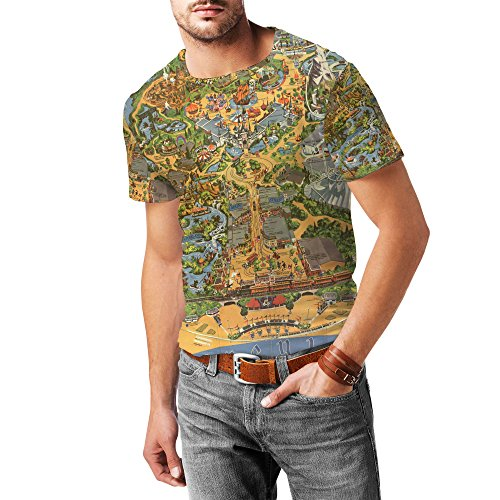 Queen of Cases Disneyland Vintage Map Mens Katoen Blend T-Shirt - L Geel