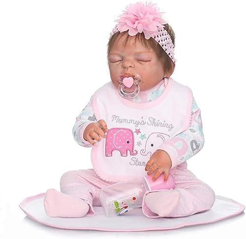 YSoutstripdu 1 Set 22 Inch Lifelike Handmade Silicone Full Body Newborn Baby Sleeping Realistic Reborn Doll Toy - 22 Inch