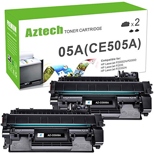 Aztech Compatible Toner Cartridge Replacement for HP 05A CE505A P2035 P2035N P2055DN (Black, 2-Pack)