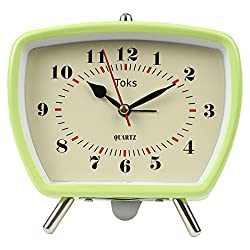 Lily's Home Vintage Retro Inspired Analog Alarm Clock, Looks Like Miniature Television Set with Silver Legs, Small Stylish Clock Adds Character to Any Bedroom, Green (5 1/2 Tall x 5 3/4 Wide)