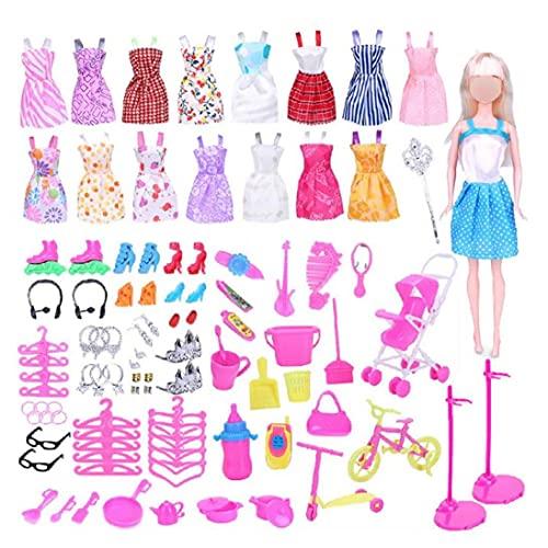 114Pcs Ropa joyería y Accesorios para muñecas Juego de Ropa Ropa de la muñeca Asseories Incluyen los Vestidos de Casual Zapatos Bolsas Bandas Collar de la Pulsera Corona Bastones