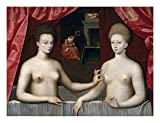 Global Gallery Art on a Budget School of Fontainebleau Gabrielle D'Estrees and One of Her Sisters Unframed Giclee on Paper Print, 16 3/8' x 22'