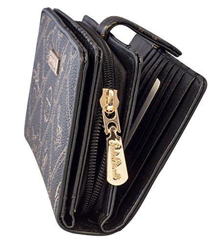 Geldbeutel Damen mit Reißverschluss und Druckknopf Giulia Pieralli Frauen Geldbörse groß viele Fächer Geldtasche Frauen Portemonnaie 5003 schwarz