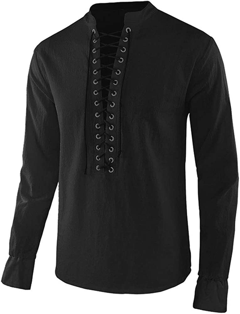 Moomphya Mens Medieval Lace Max 55% OFF Up Long Sleeve Deluxe T-Shirt Gothi Cosplay