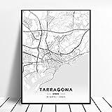 zhuifengshaonian Póster Mapa de España de Tarragona, Salamanca, Ibiza, Granada, Cádiz, Málaga (ZW-1789) Sin Marco Poster 40x60cm
