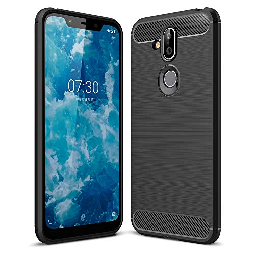 NALIA Hülle kompatibel mit Nokia 8.1, Carbon Design Handyhülle Ultra-Slim Silikon Hülle Back Cover, Dünne Smart-Phone Schutzhülle Stoßfeste Etui Handy-Tasche Soft Bumper TPU Gummihülle Skin - Schwarz