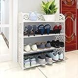 JXXDDQ Zapatero de hierro forjado Almacenaje de madera de hierro forjado soporte de pie organizador de zapatos de pie, blanco (Size : A)