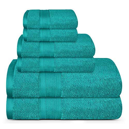 TRIDENT Toallas de baño Suaves y afelpadas, Toallas táctiles de Plumas de algodón 100%, Juego de 6 Piezas, 2 Toallas de baño, 2 toallitas, 2 Toallas faciales, 14 lbs/dzn (Verde Azulado)