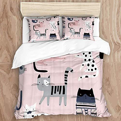 Juego de funda nórdica de 3 piezas de fácil cuidado y 2 fundas de almohada, niña, lindos gatitos coloridos, creativos infantiles, con textura rosa, divertidos gatos, elegante funda de edredón de micro