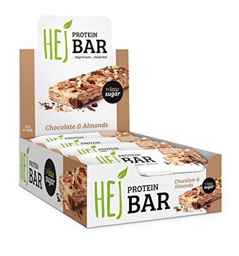 HEJ Protein Bar - Protein Riegel ohne Zuckerzusatz - Eiweißriegel - Fitness Riegel Protein – Geschmack: Chocolate Almonds - 12 x 60g
