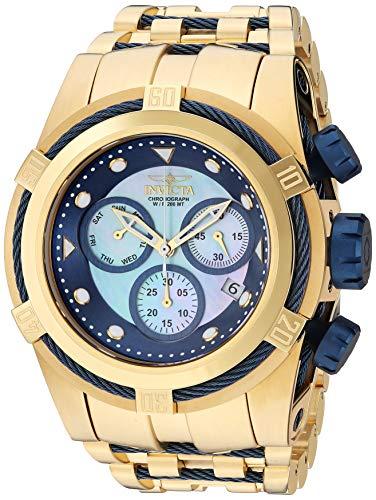 Relógio masculino de quartzo com parafuso Invicta com pulseira de aço inoxidável, dourado, 35 (modelo: 29738)