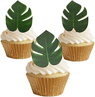 GEORLD 48pcs Edible Tropical Palm Leaves Cupcake toppers for Hawaii Theme Party Cake Summer Decoration