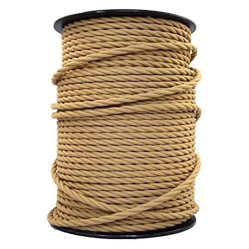 smartect Cable para lámparas de tela en color Marrón Claro - Cable textil trenzado de 5 Metro - 3 hilos (3 x 0,75 mm²) - Cable de luz con revestimiento textil