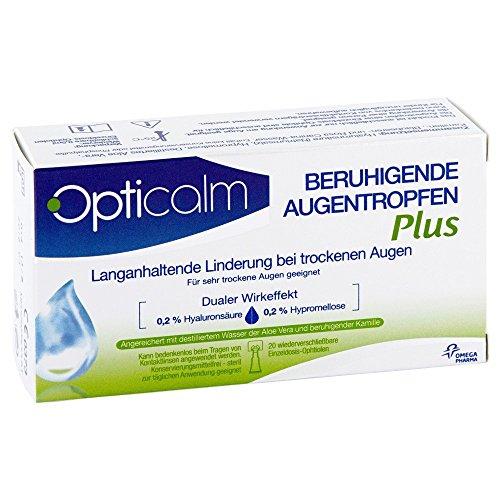 Opticalm beruhigende Augentropfen Plus (Augentropfen Hyaluronsäure gegen trockene Augen, ohne Konservierungsstoffe, für Kontaktlinsenträger geeignet) 20 x 0,5 ml