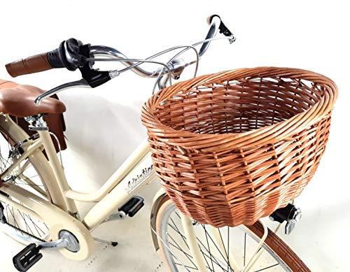 Adriatica Bicicletta City Bike 28″ Donna in Alluminio Cambio 6 velocità + Cestino e Borse - Color Beige