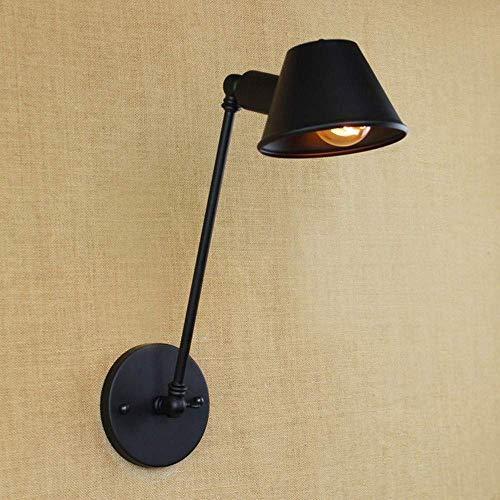 Meixian Wandlamp, klassiek antiek, zwart, verstelbaar, met lange zwenkarm, voor op het werkbereik, bedlampje voor slaapkamer, eenvoudig retro
